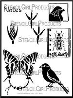 Nature Notes Stencil (L290) designed by Roxanne Evans Stout for StencilGirl (12 inch by 12 inch)