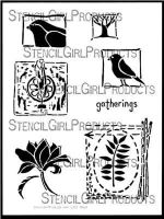 Nature's Gatherings Stencil (L293) designed by Roxanne Evans Stout for StencilGirl (12 inch by 12 inch)