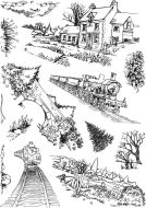 Old Railway A5 Clear Stamp Stamp Set by Hobby Art (CS306D)