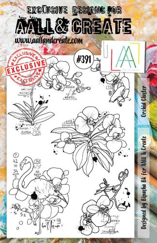 Orchid Cluster No. 391 Aall and Create A5 sized stamp by Bipasha BK (AAL00391)