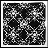 Ornamental Petals Screen designed by Gwen Lafleur for Stencil Girl (6 inch by 6 inch)