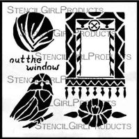 Out the Window Stencil (S282) designed by Roxanne Evans Stout for StencilGirl (6 inch by 6 inch)
