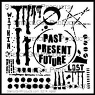 Past Present Future Stencil designed by Seth Apter for Stencil Girl (6 inch by 6 inch)