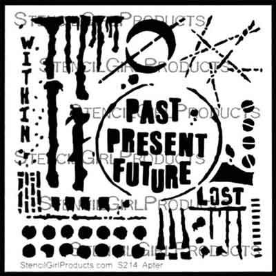 Past Present Future Stencil (S214) designed by Seth Apter for Stencil Girl (6 inch by 6 inch)