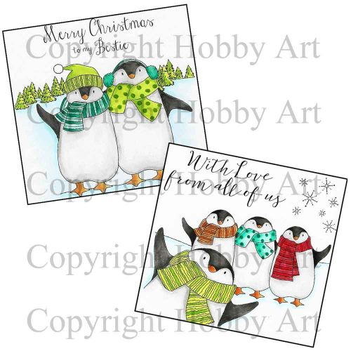 Penguin Set 2 x P6 Clear Stamp Stamps by Hobby Art (6PENG2)