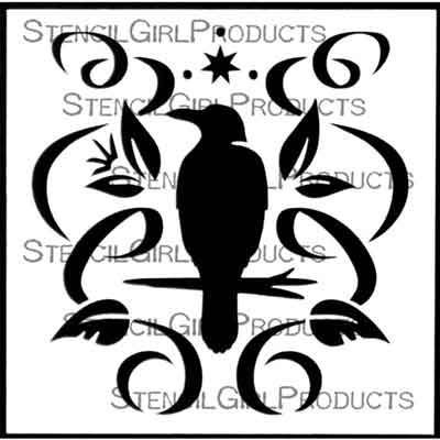 Perched Crow 6 inch by 6 inch Stencil (S849) by Darlene Olivia McElroy for StencilGirl