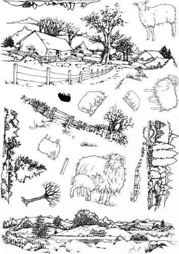 Sheep Scene it A5 Clear Stamp Stamp Set by Hobby Art (CS266D)