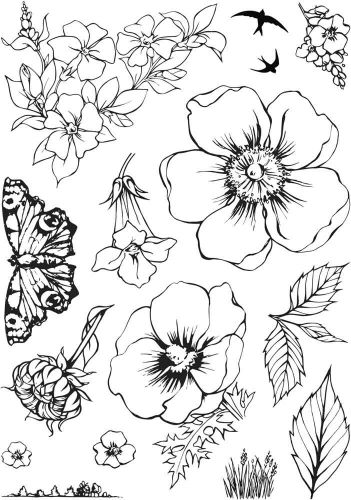 Summer Florals - Sharon's Collection A5 Clear Stamp Stamp Set by Hobby Art (CS273D)