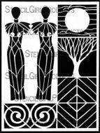 Sacred Feminine Stencil (L598) designed by Carol Wiebe for StencilGirl 9 inch by 12 inch