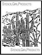 Saguaro Scene Stencil (L862) designed by Shel C for StencilGirl 9 inch by 12 inch