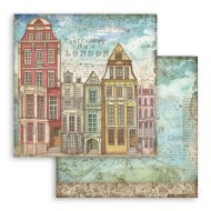 Scrapbooking paper 2 sided (12 inch by 12 inch) Lady Vagabond London houses Stamperia (SBB761)