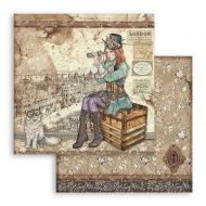 Scrapbooking paper 2 sided (12 inch by 12 inch) Lady Vagabond and cat Stamperia (SBB760)
