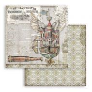 Scrapbooking paper 2 sided (12 inch by 12 inch) Lady Vagabond flying ship Stamperia (SBB757)