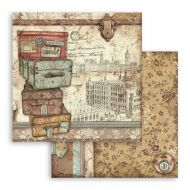 Scrapbooking paper 2 sided (12 inch by 12 inch) Lady Vagabond luggage Stamperia (SBB759)