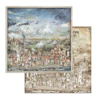 Scrapbooking paper 2 sided (12 inch by 12 inch) Sir Vagabond cityscape Stamperia (SBB746)