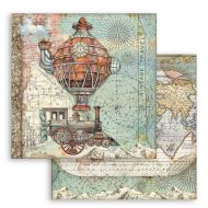 Scrapbooking paper 2 sided (12 inch by 12 inch) Sir Vagabond flying train Stamperia (SBB747)