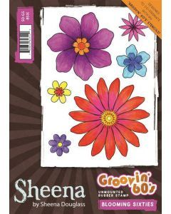 Sheena Douglass - Groovin' 60's - Blooming Sixties Rubber Stamp