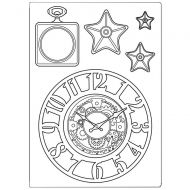 Silicone mould A5 Sir Vagabond clocks and stars Stamperia (KACM07)