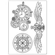 Silicone mould A5 Sir Vagabond clocks and wings Stamperia (KACM06)