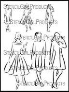 Sketchy Women with Class 9 inch by 12 inch Stencil (L590) by Carolyn Dube for StencilGirl