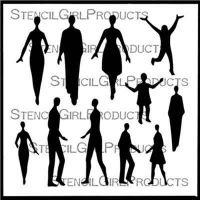 Small Figures People Stencil (S707) designed by Valerie Sjodin for StencilGirl 6 inch by 6 inch