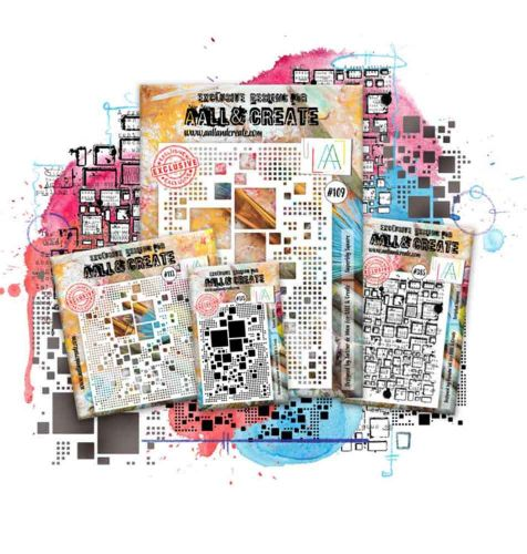 Square Set  - Aall and Create (stencil 109, 113 and stamps 375, 385)