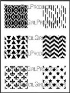 Squares Mini Printmaking Set No. 1 9 inch by 12 inch Stencil (L692) by Ann Butler for StencilGirl
