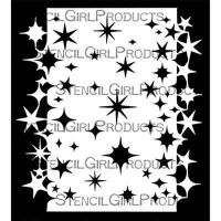 Stars Stencil with Stars Mask Double Border 6 inch by 6 inch Stencil (S868) by Valerie Sjodin for StencilGirl