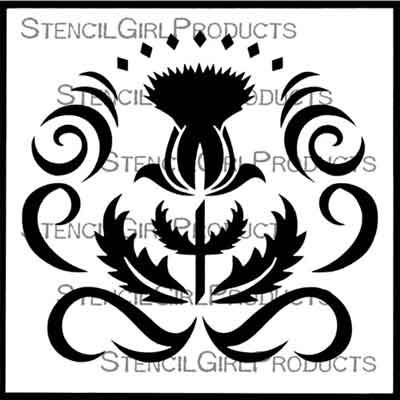 Thistle and Ribbons 6 inch by 6 inch Stencil (S850) by Darlene Olivia McElroy for StencilGirl