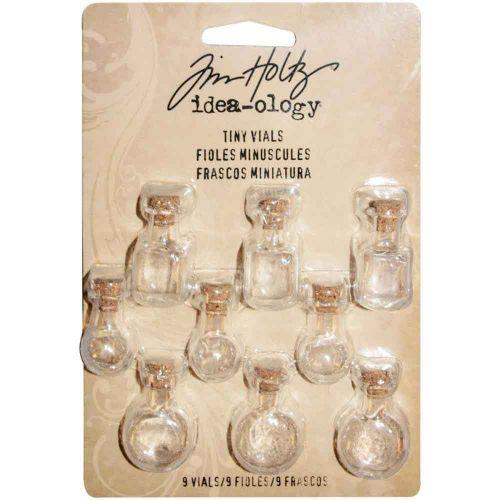 Tiny Corked Glass Vials 9/Pkg Tim Holtz Idea-Ology (TH93201) UK ONLY