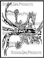 Tree Inner Dream Houses Stencil (L849) designed by Rakefet Hadar for StencilGirl (9 inch by 12 inch)