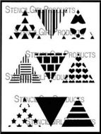 Triangles Mini Printmaking Set No. 1 9 inch by 12 inch Stencil (L701) by Ann Butler for StencilGirl