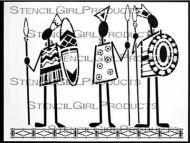 Tribal Men Stencil (L397) designed by Desiree Habicht for StencilGirl (9 inch by 12 inch)