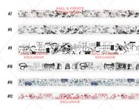Washi Tape - Set 2 - 6 washi tapes by Tracy Evans for Aall and Create (No. 7 to 12)