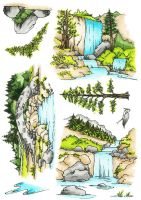 Waterfalls A5 Clear Stamp Stamp Set by Hobby Art (CS294D)