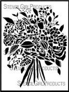 Wildflower Bouquet Stencil (L672) designed by Wendy Brightbill for StencilGirl 9 inch by 12 inch
