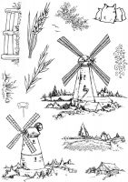 Windmills A5 Clear Stamp Stamp Set by Hobby Art (CS292D)