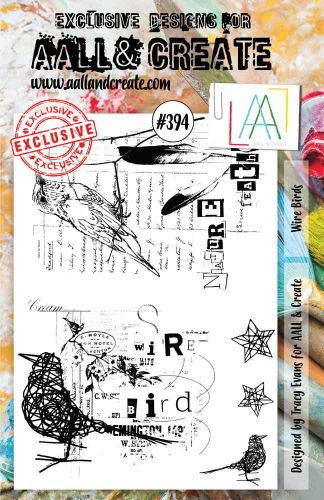 Wire Birds No. 394 Aall and Create A5 sized stamp by Tracy Evans (AAL00394)