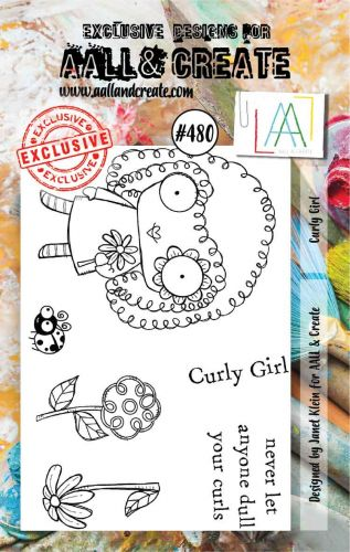 Curly Girl (no. 480) by Janet Klein Aall and Create A7 stamp (AAL00480)