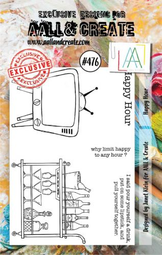 Happy Hour (no. 476) by Janet Klein Aall and Create A7 stamp (AAL00476)
