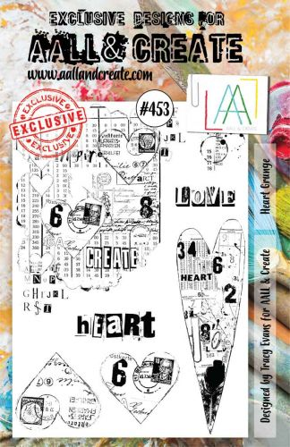 PRE-ORDER EXPECTED 12 MARCH Heart Grunge by Tracy Evans Aall and Create A5 stamp (AAL00453)
