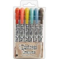 Tim Holtz Distress Crayon Set Number 7 (Fired Brick, Abandoned Coral, Crushed Olive, Evergreen Bough, Stormy Sky, Ground Espresso)