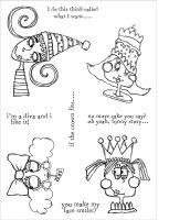 Delightful Divas (CS087) Zinski Art Funky Fossil a5 Stamp