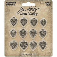 Hearts Metal Adornments 12 Pack Tim Holtz Idea-Ology (TH94130)