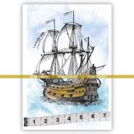 Caravel Ship (SOLO018) Single Unmounted Rubber Stamp by Katzelcraft