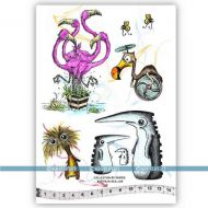 Flamingos and Friends Jab Collection 02 (KTZ224) A5 Unmounted Rubber Stamp Set by Katzelkraft
