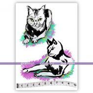 Japanese Cats (KTZ249) A6 Unmounted Rubber Stamp Set by Katzelkraft