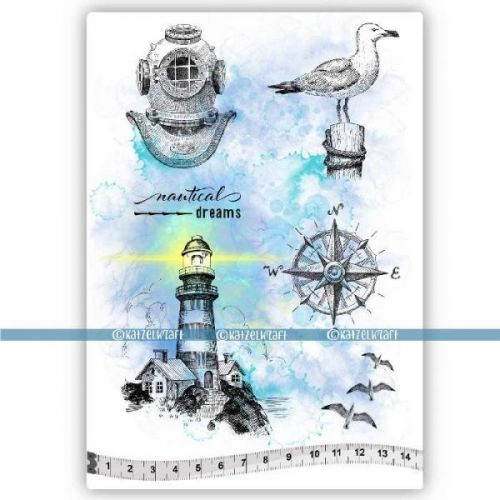 Nautical Dreams (KTZ149) A5 Unmounted Rubber Stamp Set by Katzelkraft