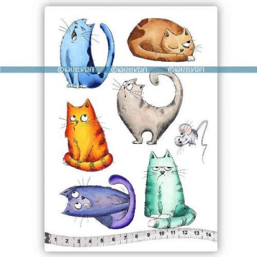 Russian Cats (KTZ152) A5 Unmounted Rubber Stamp Set by Katzelkraft
