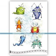 Silly Monsters (KTZ193) A5 Unmounted Rubber Stamp Set by Katzelkraft
